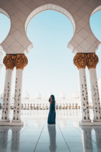 Woman standing in Mosque