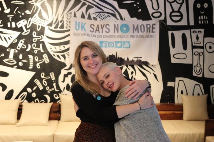 Sarah and Rose embracing